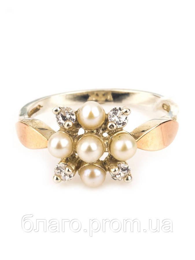 Серебряное кольцо с золотом  Свежестьс жемчугом