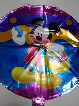 Гелиевый  фольгированый шарик в форме круга с рисунком Микки Маус