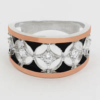 Серебряное кольцо Аврил с золотом и эмалью