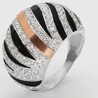 Кольцо серебряное с золотом и эмалью Долорес