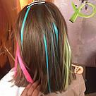 🍈 Бледно зелёные цветные пряди волос на заколках клипсах 🍈, фото 10