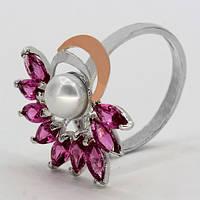 Кольцо с цирконами и жемчугом Индиго