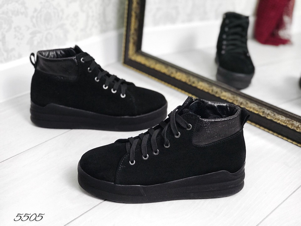 Ботинки на шкурках чёрный замш