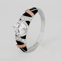 Кольцо серебро Зара с золотом и эмалью, фото 1