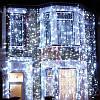 Новогодняя гирлянда шторы 240 led холодный белый 3 метра, бахрома 1,5 метра