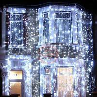 Новогодняя гирлянда шторы 240 led холодный белый 3 метра, бахрома 1,5 метра, фото 1