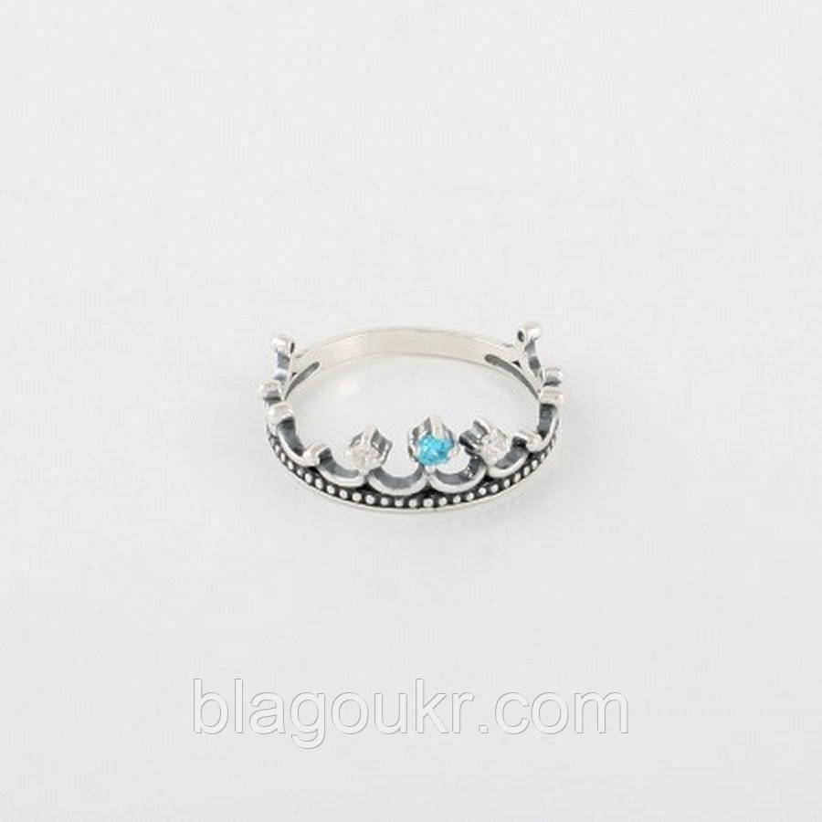 Кольцо серебряная корона