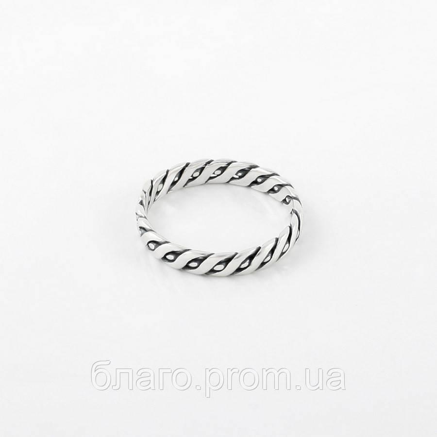 Кольцо серебряное Косичка с чернением без камней