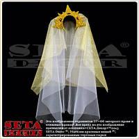 Корона золотая Царевна с фатой на обруче