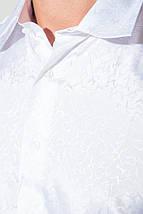 Рубашка мужская однотонная с перламутровым узором 50P043 (Белый), фото 3