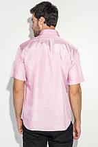 Рубашка мужская однотонная с перламутровым узором 50P043 (Розовый), фото 2