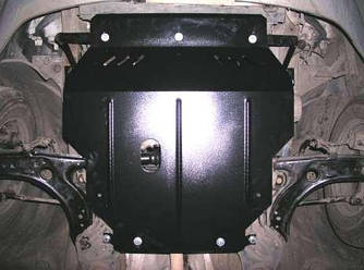 Защита картера (двигателя) и Коробки передач на Пежо 407 (Peugeot 407) 2004-2010 г (металлическая/вместо пыльника)