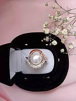 Кольцо серебро с золотом и жемчугом Капля