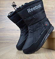 Зимние женские дутики сапоги Reebok черные. Живое фото (Реплика ААА+) f61eeecf8eee5