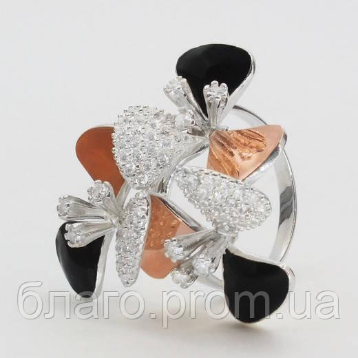 Кольцо серебро с золотом Камила и эмалью