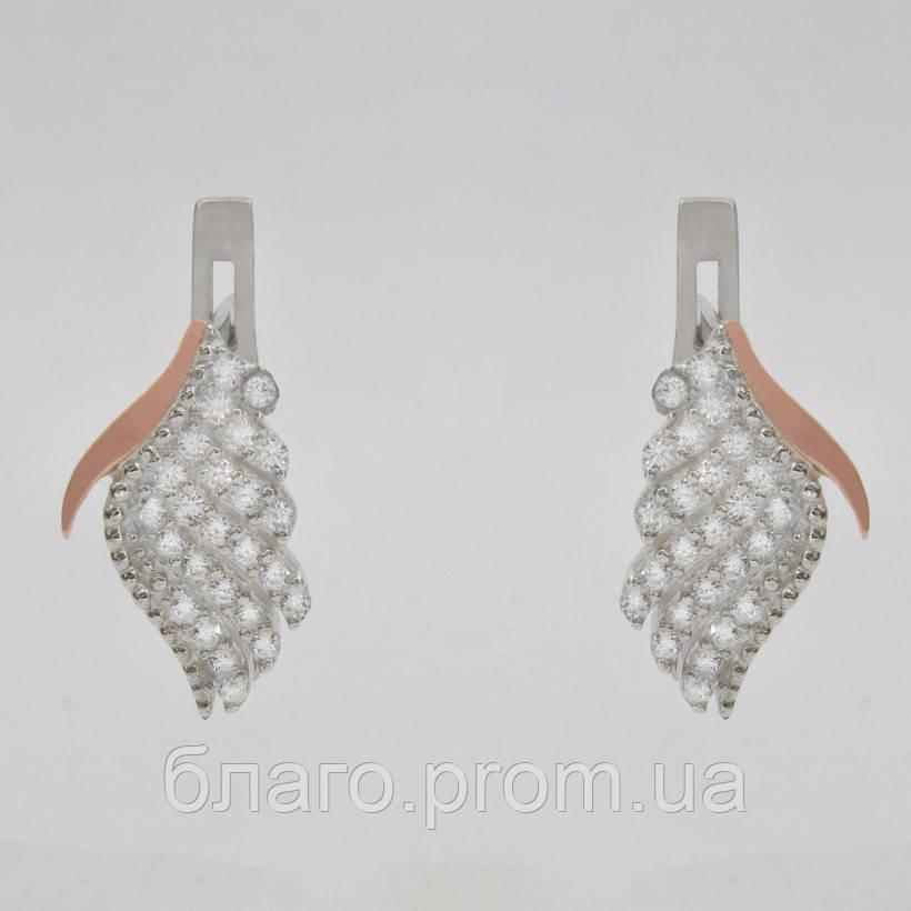Серебряные серьги Крылья с камнями