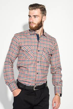 Рубашка мужская теплая, воротник на пуговицах 50PD0041 (Красно-молочный), фото 2