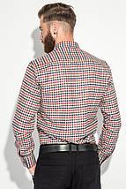 Рубашка мужская теплая, воротник на пуговицах 50PD0041 (Красно-молочный), фото 3