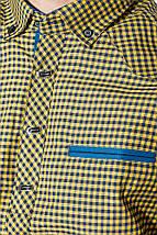Рубашка мужская мелкая клетка  50PD0042 (Желтый, клетка), фото 3
