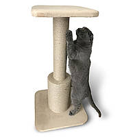 Высокая когтеточка столбик с платформой-сидушкой. Прочная, надежная когтедралка / дряпка. Ручная работа, фото 1
