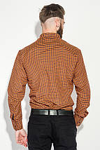 Рубашка мужская мелкая клетка  50PD0042 (Оранжевая клетка), фото 3