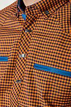 Рубашка мужская мелкая клетка  50PD0042 (Оранжевая клетка), фото 2