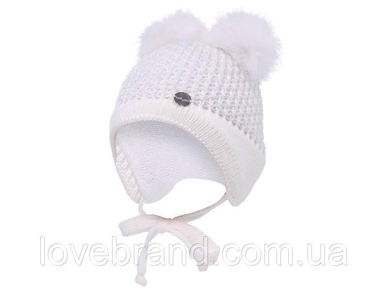 Зимняя шапочка для девочки на завязку с натуральным помпоном кролик 38,40