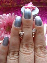 Срібні сережки-гвоздики з золотими вставками Росинка
