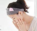 Повязка для волос косметологическая с ушками розовая, фото 7