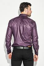 Рубашка мужская с контрастными запонками 50PD0060 (Черно-сиреневый), фото 3