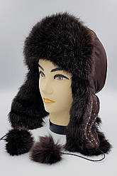 Зимняя женская шапка-ушанка Klaus Кролик на Плащевке 55-58 Коричневая  (013)