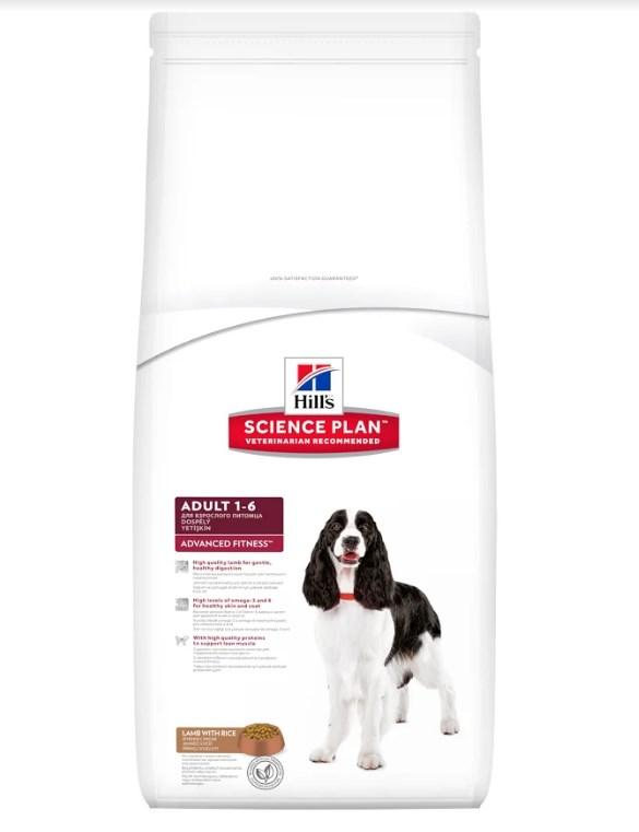Hill's Science Plan Adult Advanced Fitness корм для собак средних пород с ягненком и рисом 12 кг