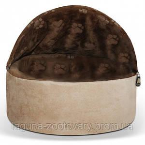 K&H Kitty Hooded самосогревающийся домик-лежак 40,5х40,5х32см для собак и котов, шоколад/коричн., S