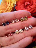 Срібні сережки гвоздики Метеорит з каменем, фото 4