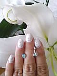 Срібні сережки гвоздики Метеорит з каменем, фото 5