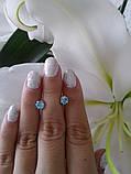 Срібні сережки гвоздики Метеорит з каменем, фото 7