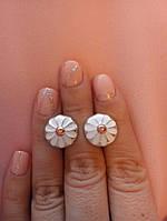 Серебряные серьги с золотом и эмалью, фото 1