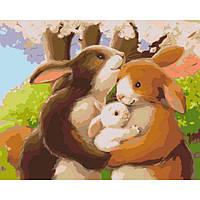 """Картина по номерам. Животные, птицы """"Счастливая семья"""" 40х50см. KHO2426"""