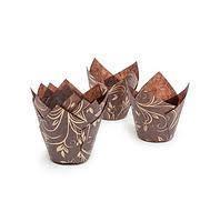 Коричневые с узором бумажные формы для маффинов, кексов