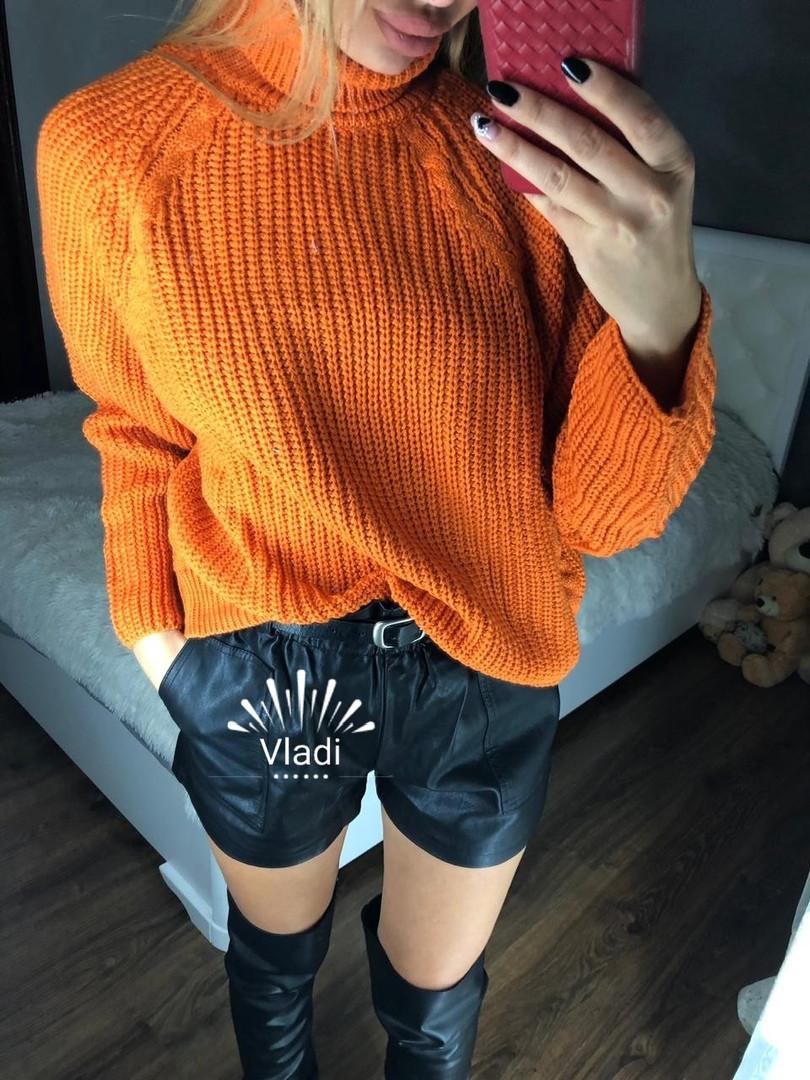 Обьемный свитер крупной вязки 50% шерсть.Длина 60см.  Размер: 42-46.(5221)
