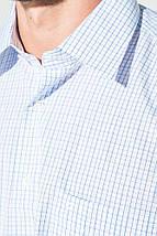 Рубашка мужская светлая клетка 50PD0034 (Бело-голубой), фото 2