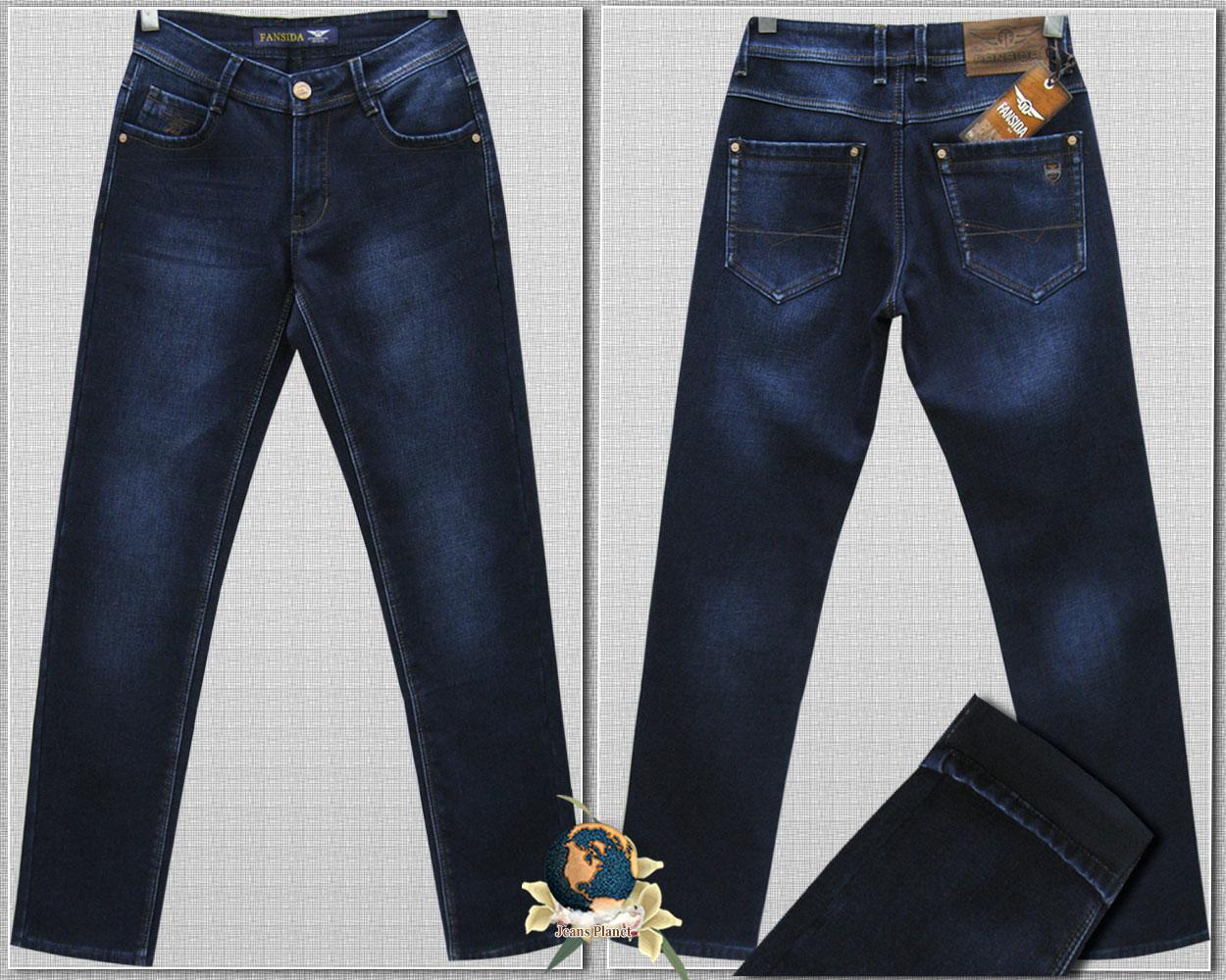 Джинси чоловічі зимові класичні Fangsida синього кольору 38 розмір