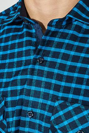 Рубашка мужская теплая, в клетку 50PD0041-3 (Сине-бирюзовый), фото 2