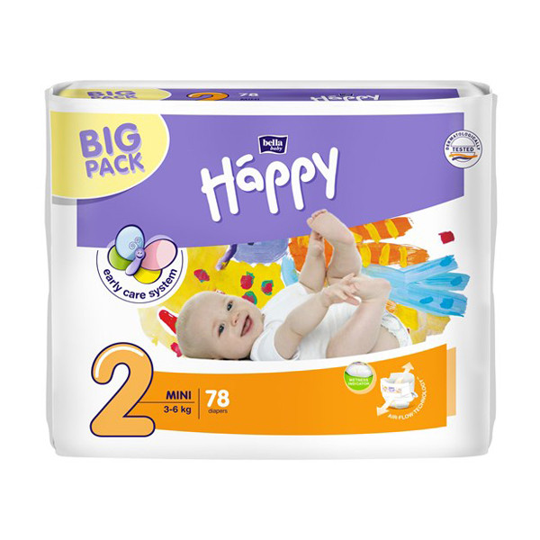 Подгузники Bella Baby HAPPY Mini (2) 3-6 кг, 78 шт
