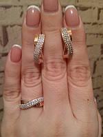 Серебряный комплект Ева с золотом, фото 1