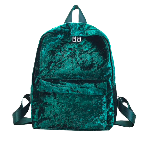 Рюкзак женский городской бархатный Зеленый