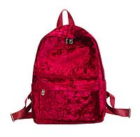 Рюкзак женский городской бархатный Красный, фото 1