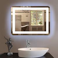 Прямоугольное зеркало светодиодное с подсветкой с закругленными углами 600 х 800 мм