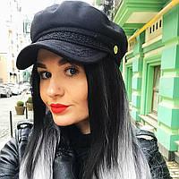 Женский картуз, кепи, фуражка с кружевом черный, фото 1