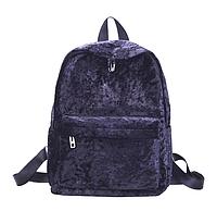 Рюкзак женский городской бархатный Черный